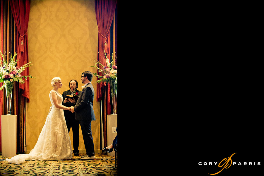 bride and groom standing together at hotel deca by seattle wedding photographer cory parris