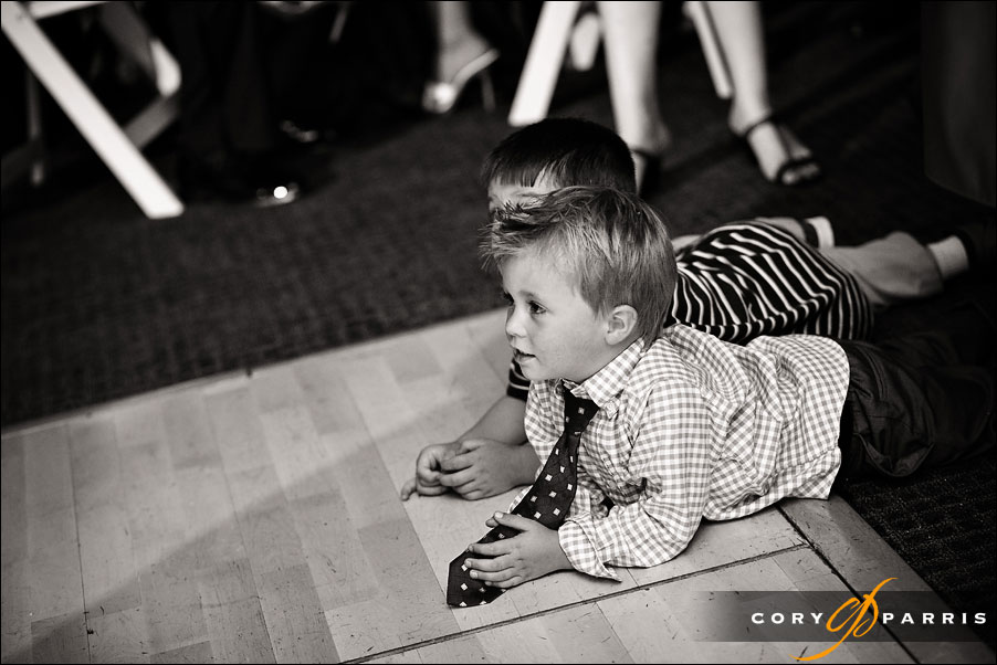 Little boys watching the dancing by seattle wedding photojournalist cory parris