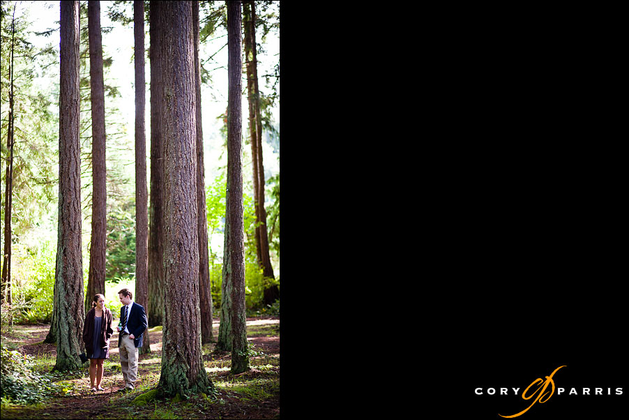 couple standing in the woods by seattle wedding photojournalist cory parris