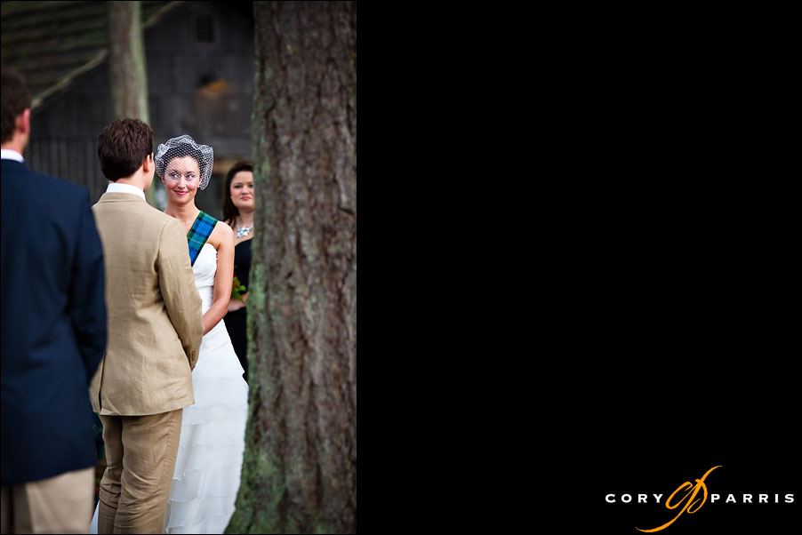 bride looking at groom during the wedding by seattle wedding photographer cory parris