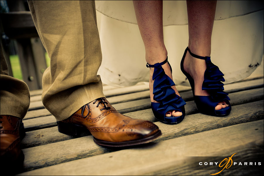 bride and groom's feet by seattle wedding photographer