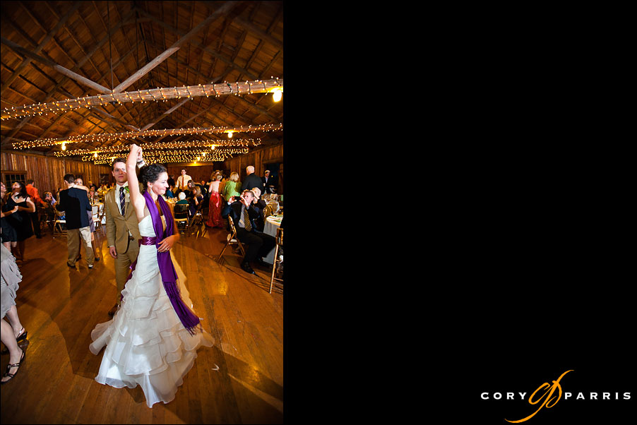 bride and groom dancing in rustic lodge by seattle wedding photojournalist cory parris