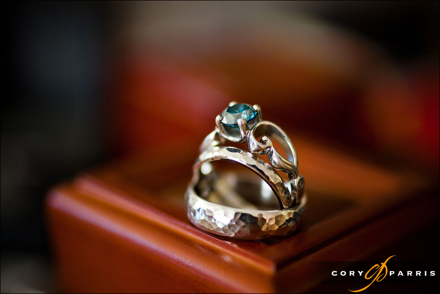wedding ring with blue stone by seattle wedding photographer cory parris