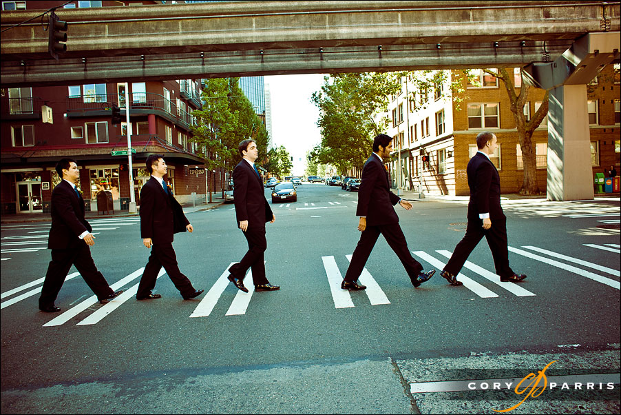 groomsmen as the beattles abbey road by seattle wedding photographer cory parris