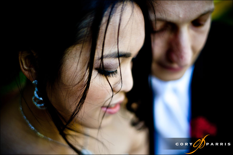 close up of the bride and groom by seattle wedding photographer cory parris