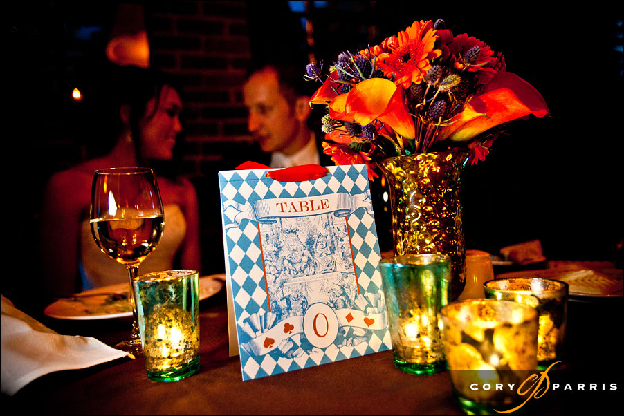 table zero alice in wonderland wedding theme