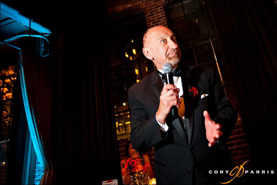father of the groom giving a toast by seattle wedding photographer cory parris