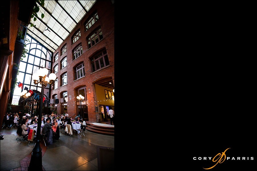 Inside the Court in the Square showing the roof and glass front by Seattle Wedding Photographer Cory Parris