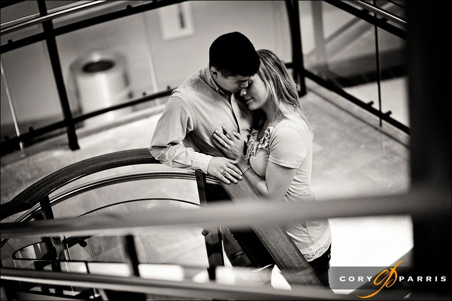couple on a stairway by seattle portrait and wedding photographer cory parris
