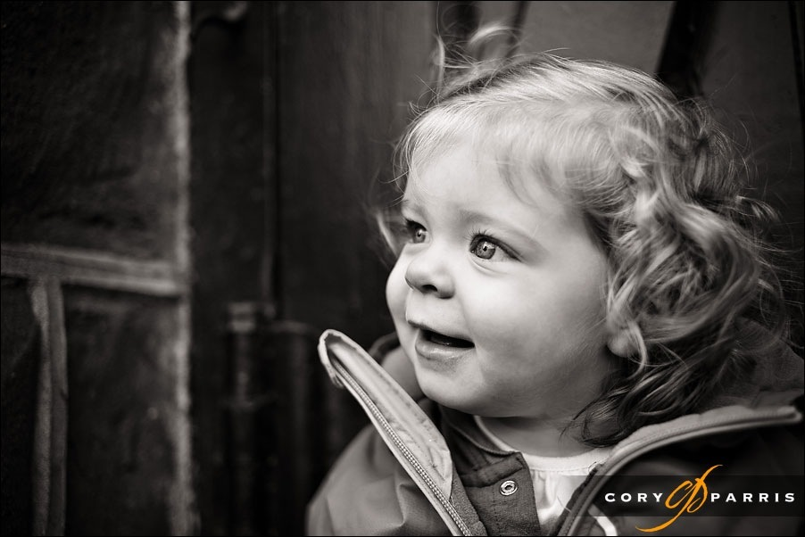beautiful little girl in b&w portrait by cory parris