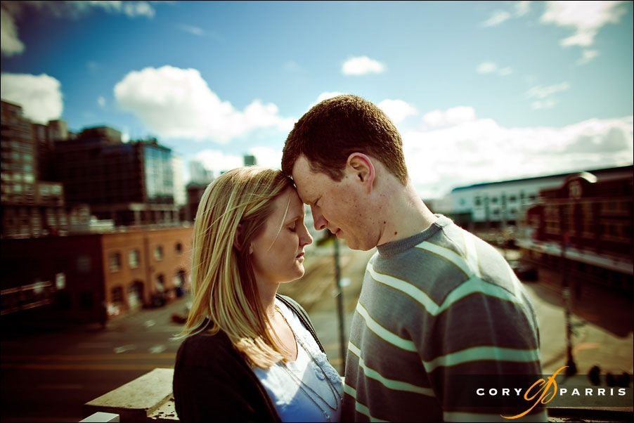 engagement portrait of a couple at olympic sculpture park by seattle wedding photographer