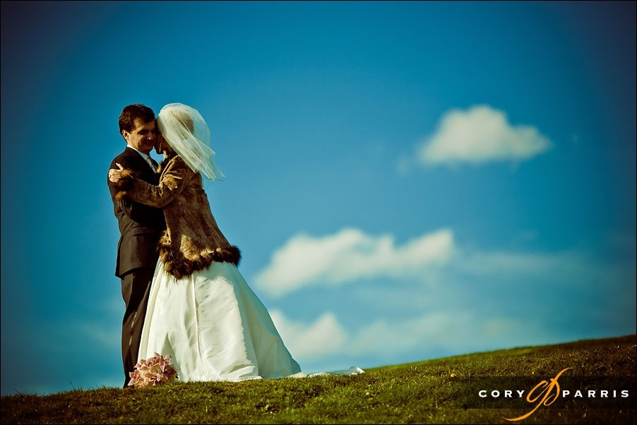 bride and groom on a hilltop in kirkland by seattle wedding photographer cory parris