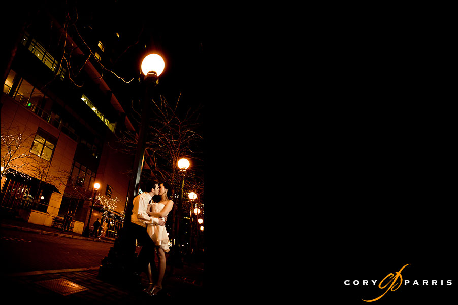 night wedding portrait by seattle bellevue wedding photographer cory parris