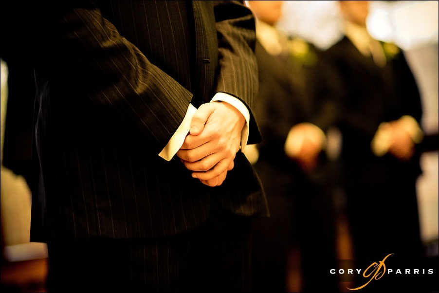 groom's hand during the ceremony at the Japanese Baptist Church by seattle wedding photojournalist cory parris