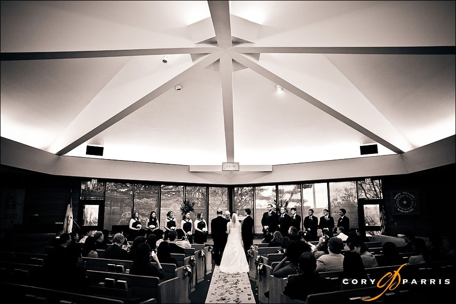 bride, groom and dad in the Japanese Baptist church for a wedding by seattle wedding photographer cory parris