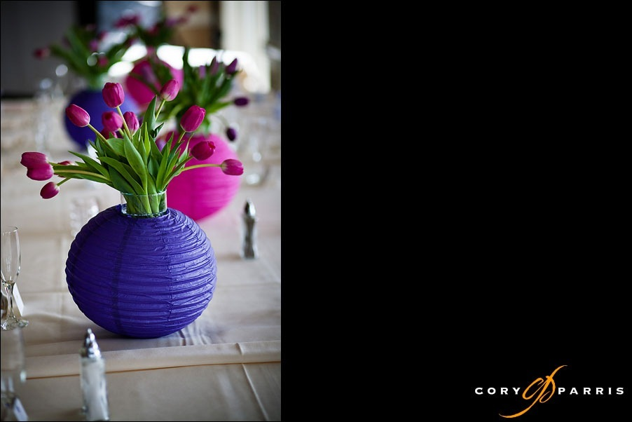 chinese lantern table decoration, purple lantern with pink tulips