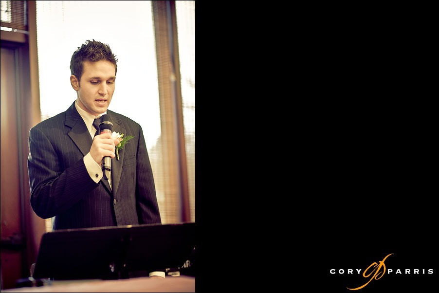 groom rapping during wedding ceremony by seattle wedding photojournalist cory parris