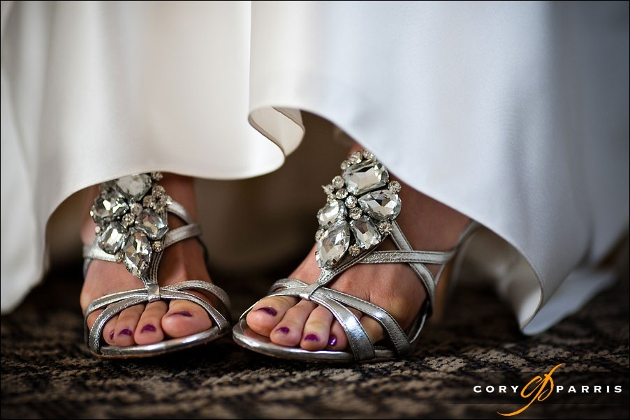 silver bridal shoes by bellevue wedding photographer cory parris