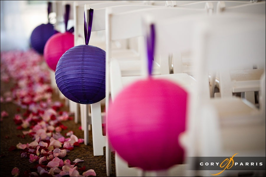 chinese laterns in purple and pink on the aisle at newcastle golf club