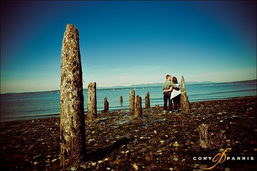 engagement portrait on the beach at golden gardens by seattle wedding photographer cory parris