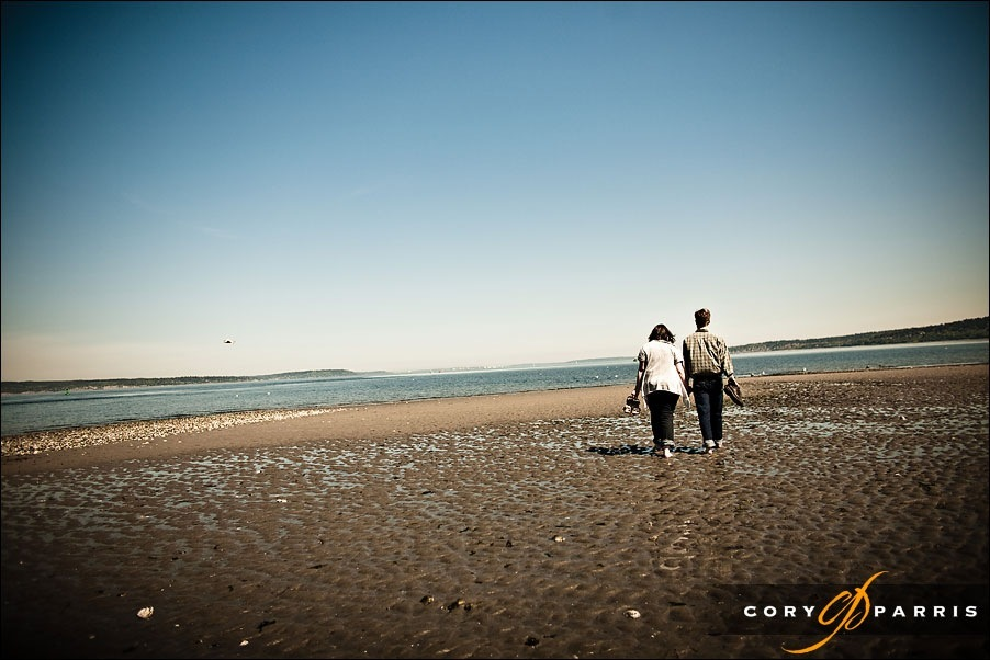 engagement portrait on the beach at golden gardens by seattle wedding photographer cory parris 3