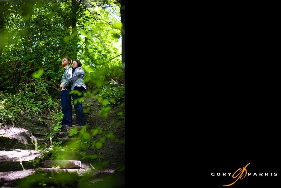 engagement portrait in the forest path