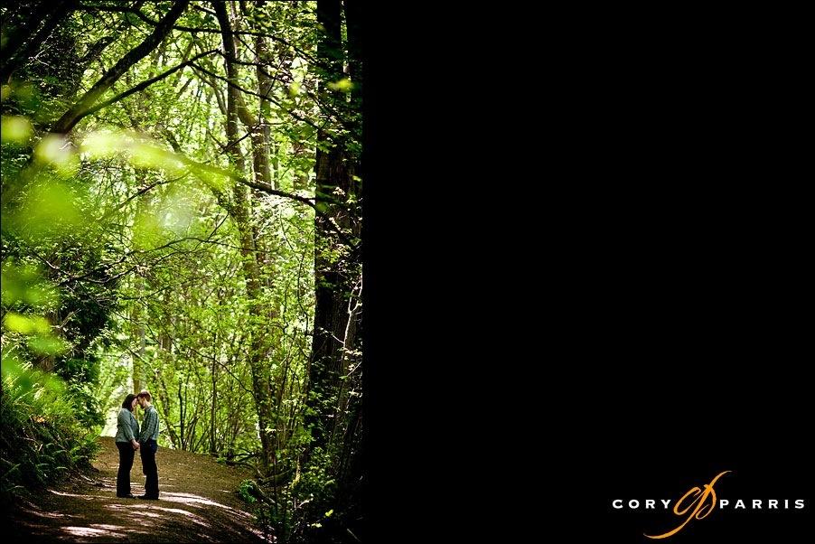 engagement portrait on a forest path