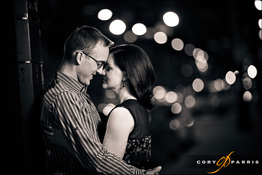 engagement portrait in seattle using strobist lighting at night in black and white