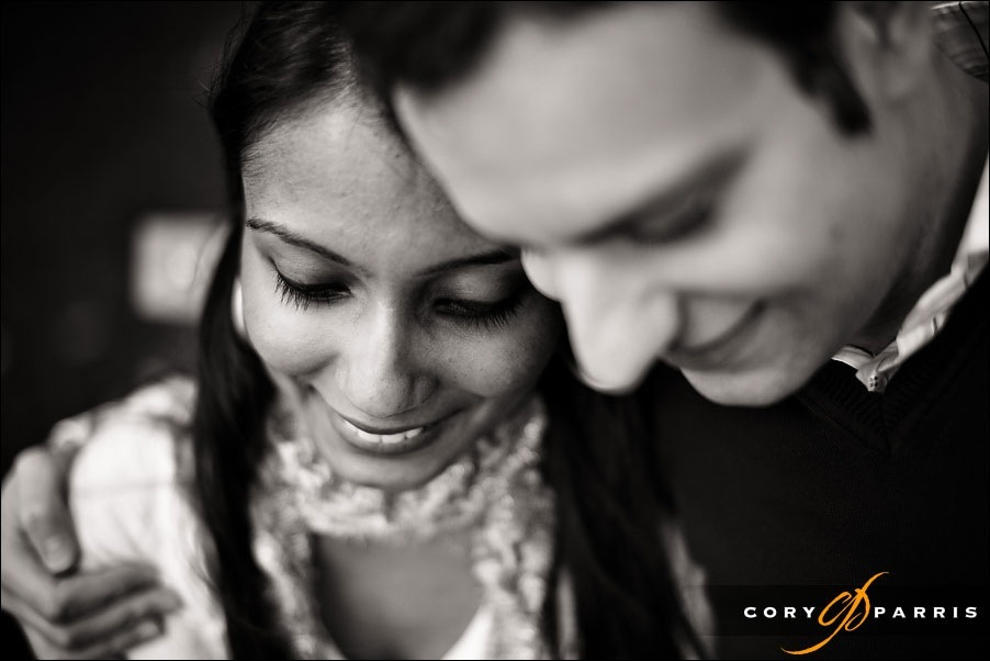 b&w engagement portrait in seattle by cory parris