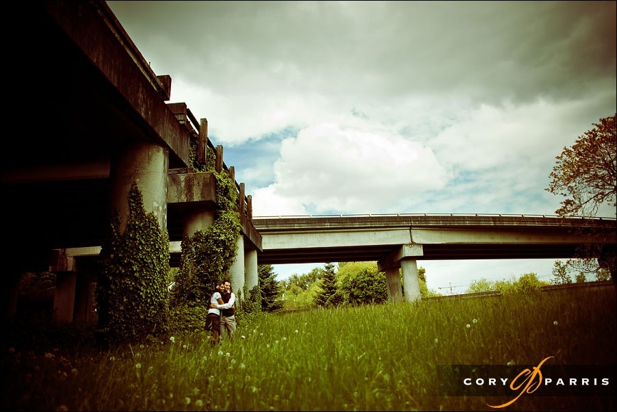 engagement portrait at freeway's end by seattle photographer cory parris