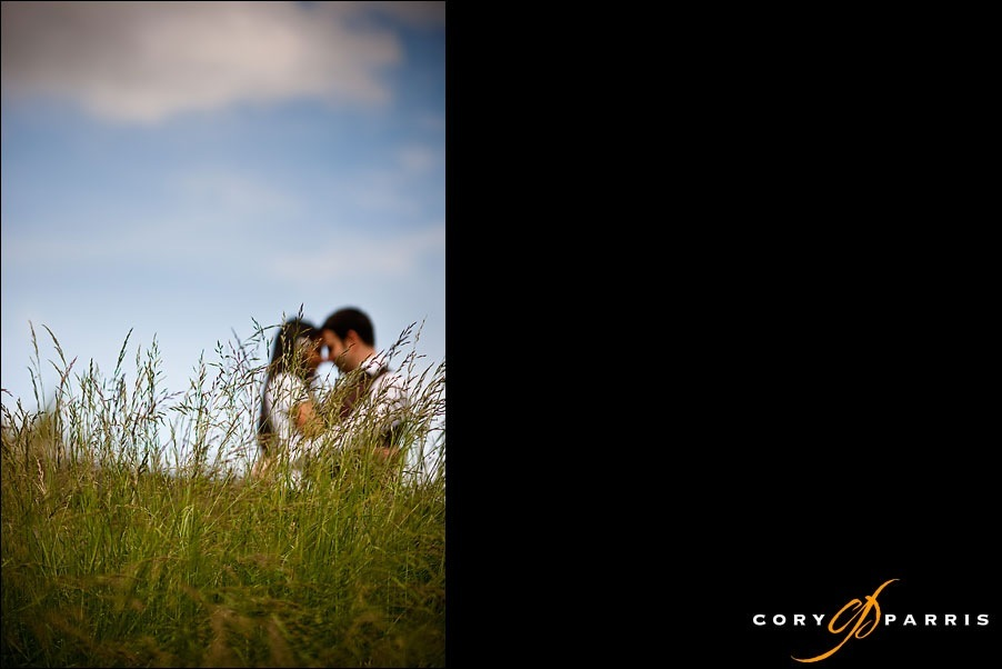 engagement portrait in the grass by seattle photographer cory parris