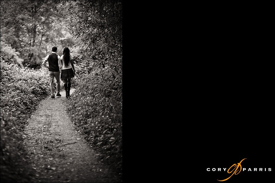 couple on the path to their weding by seattle photographer cory parris