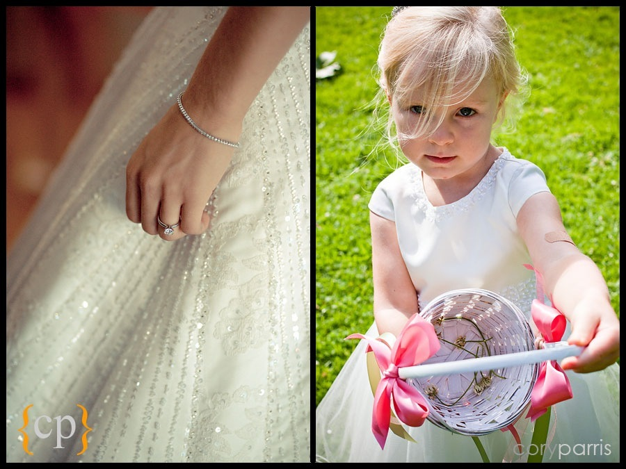 photo of bride's ring and dress and a flower girl with an empty basket