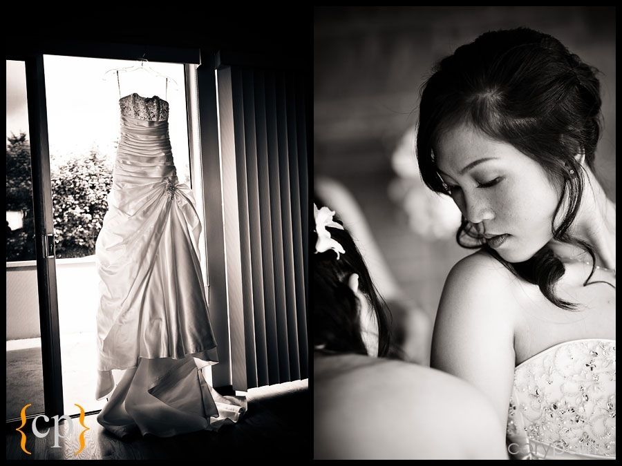 wedding dress and bride getting ready by seattle wedding photojournalist cory parris