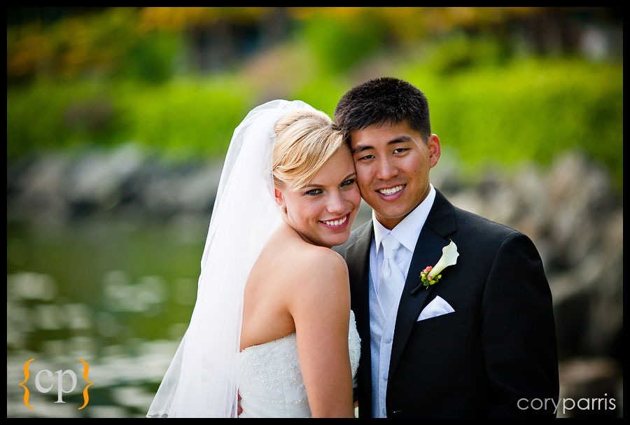 bride and groom at the Shilshole Bay Beach Club by Seattle Wedding Photographer Cory Parris