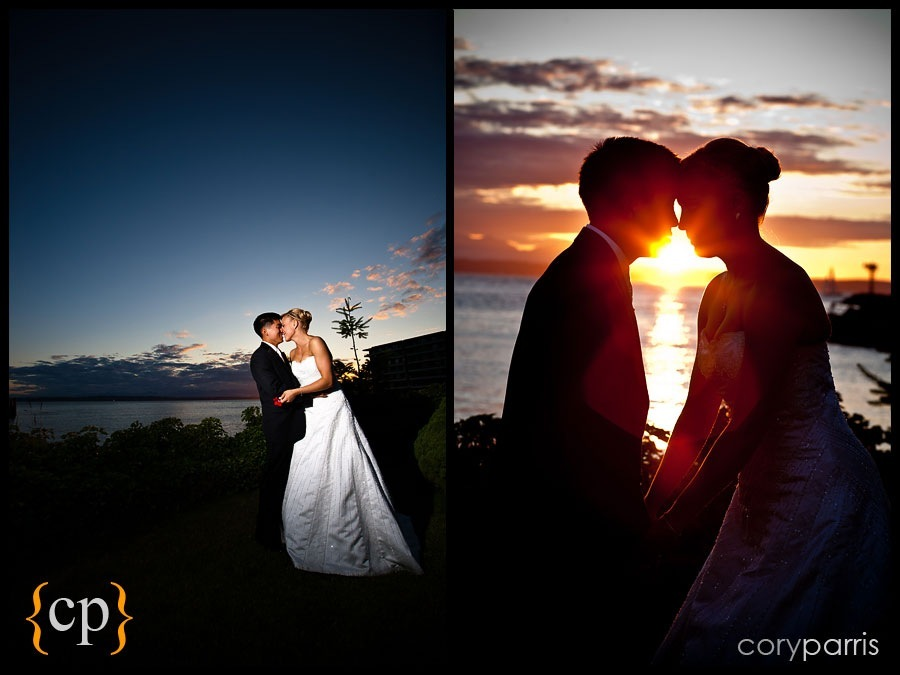 bride and groom portraits at sunset by seattle wedding photographer cory parris