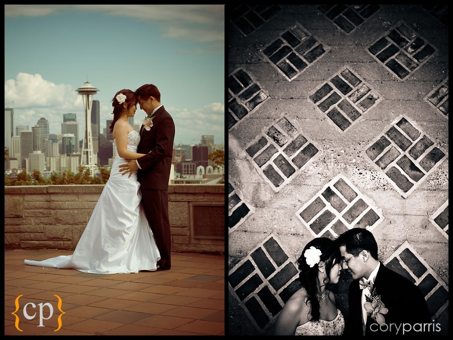a pair of wedding portraits. One with the space needle from kerry park and one under the bride by seattle wedding photographer cory parris