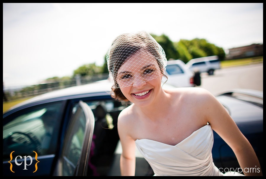 bride gets out of car to see groom for the first time at hamilton viewpoint park