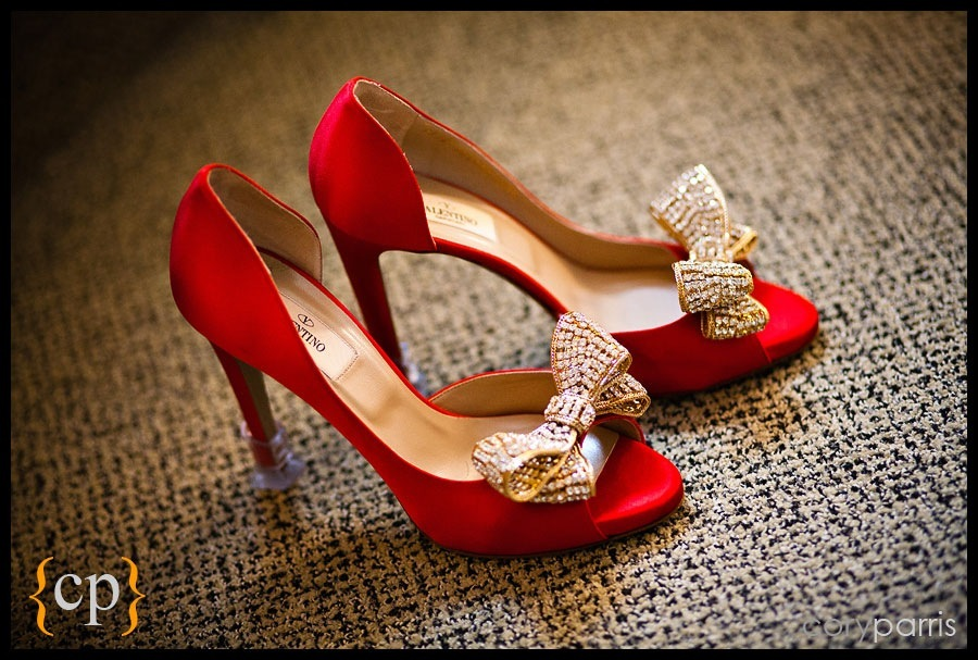Red wedding shoes valentino with gold crystal bows by seattle wedding photographer cory parris