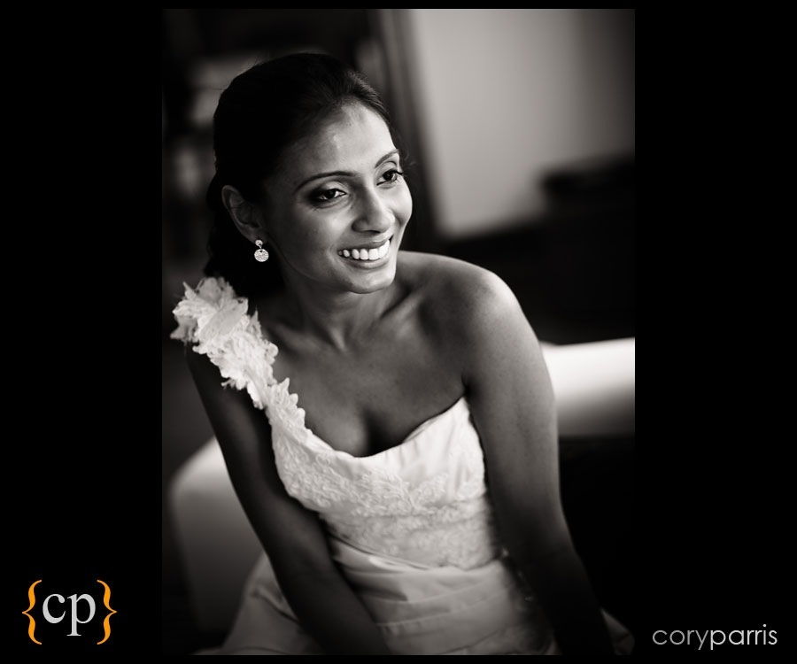 candid portrait of a bride in b&w by seattle wedding photographer cory parris
