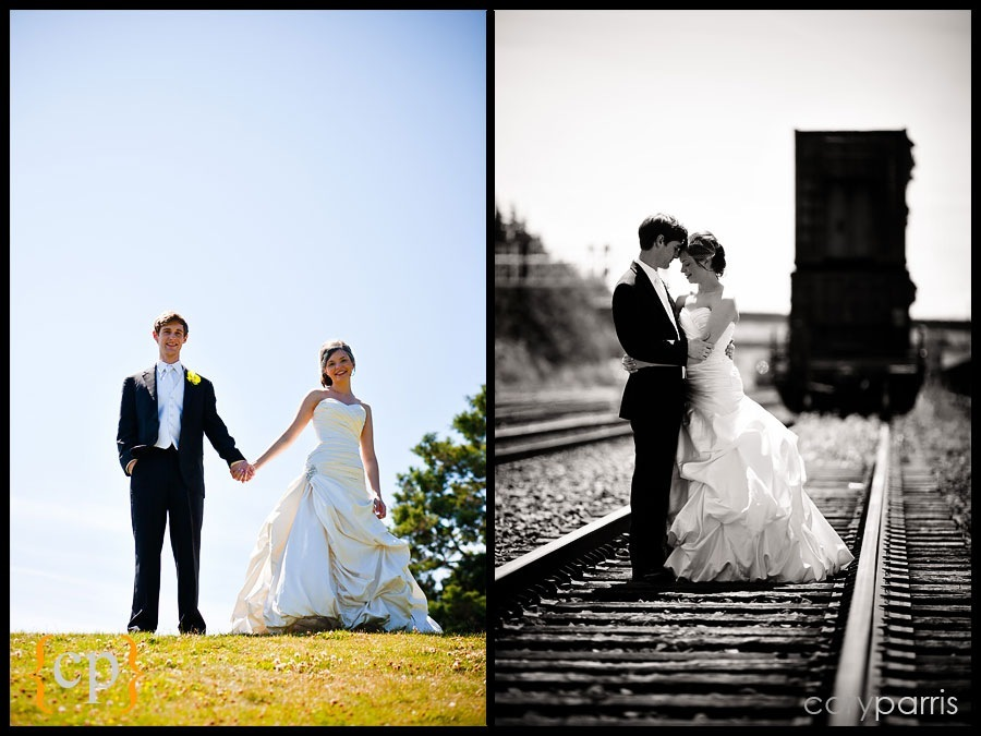 bride and groom portrait on the train tracks in seattle
