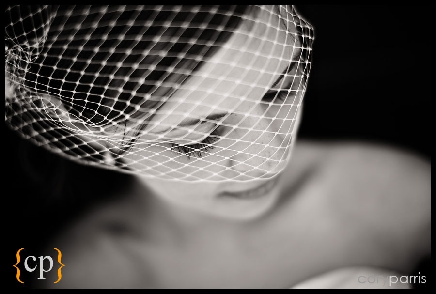 portrait of a bride with a birdcage veil and shallow depth of field