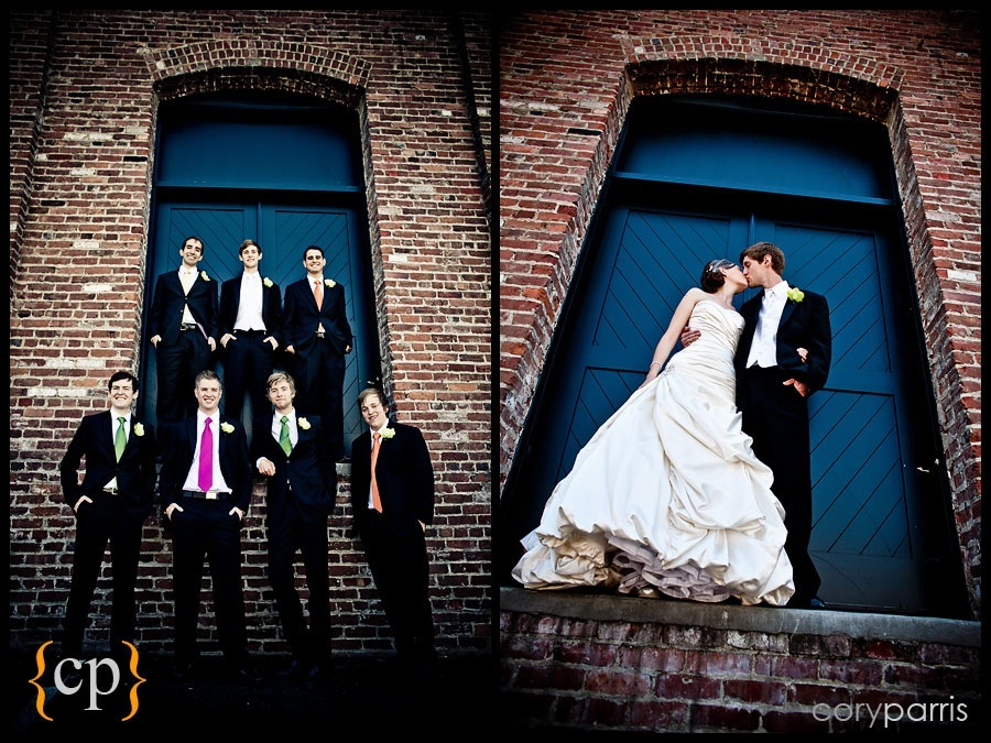 wedding portraits with a brick wall by seattle wedding photographer cory parris
