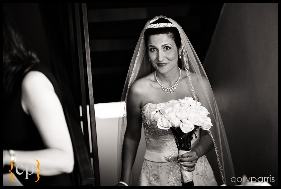 bride getting ready for wedding at the greek orthodox church of the assumption in seattle