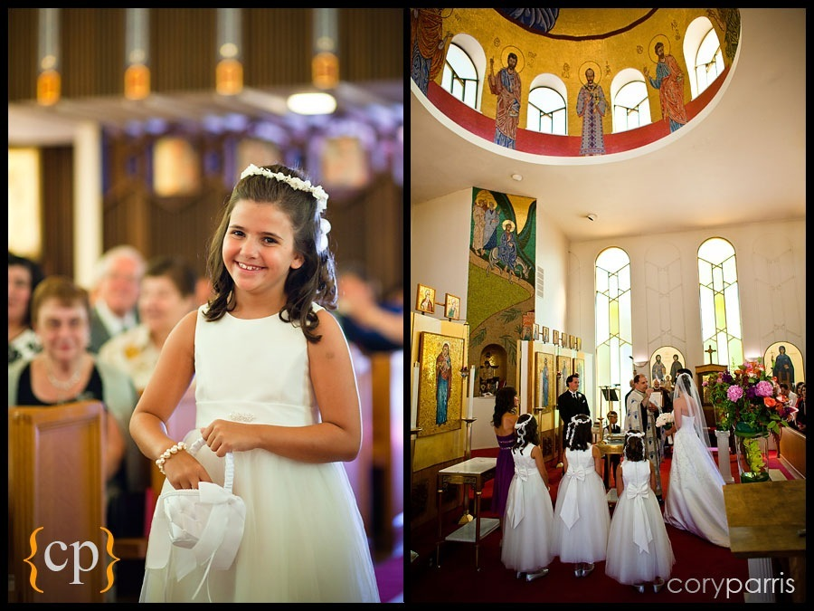 flower girls at a wedding at a wedding at the greek orthodox church of the assumption in seattle