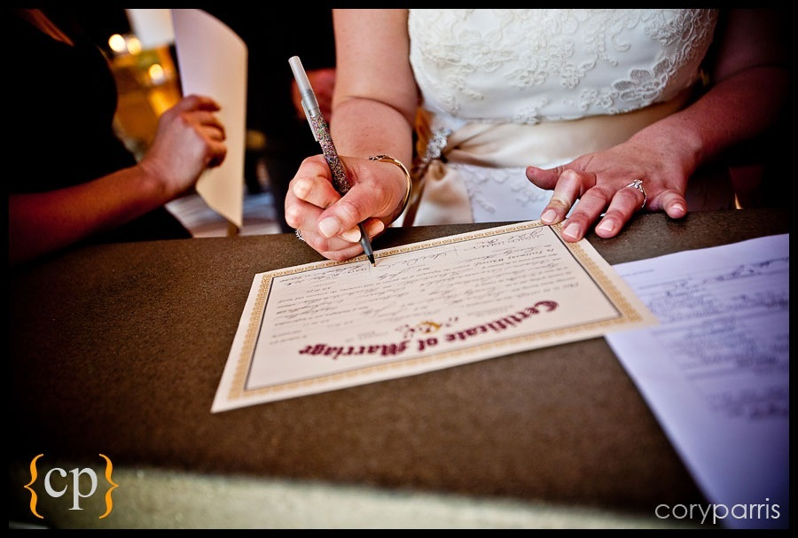 signing the marriage certificate at willows lodge