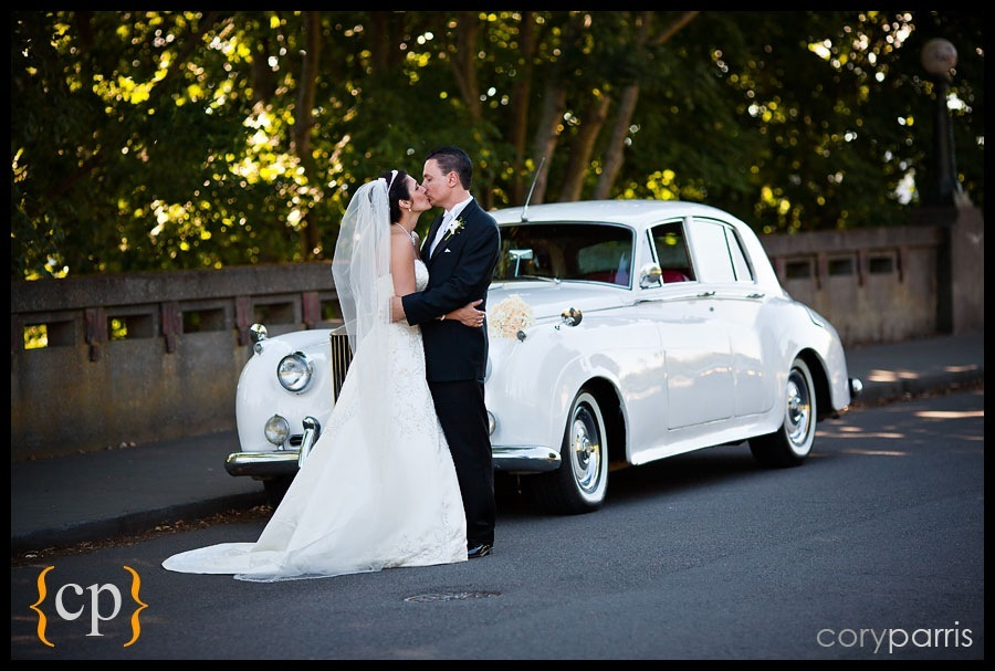 bride and groom with rolls royce by british motor coaches in seattle