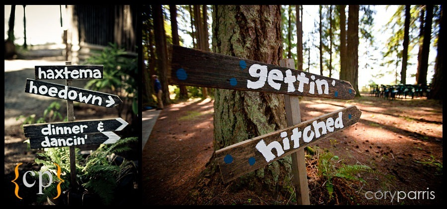 signs at a wedding kitsap memorial park