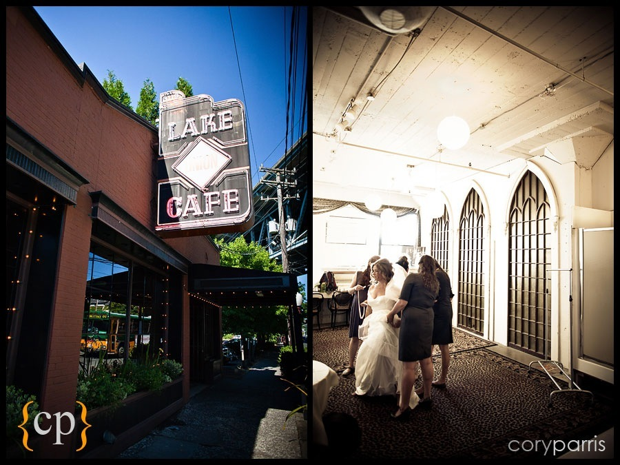 getting ready at the lake union cafe by seattle wedding photographer cory parris