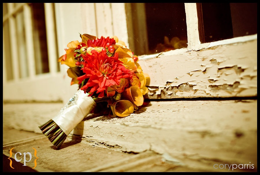 wedding flowers on a peeling window sill by seattle wedding photographer cory parris